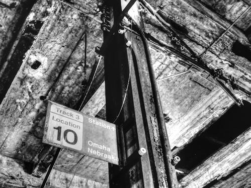 railroad blackandwhite bw abandoned station sign burlington train nebraska track decay empty shed platform route depot omaha passenger derelict delapidated douglascounty cbq damnsad chicagoburlingtonquincy theburlingtonstation