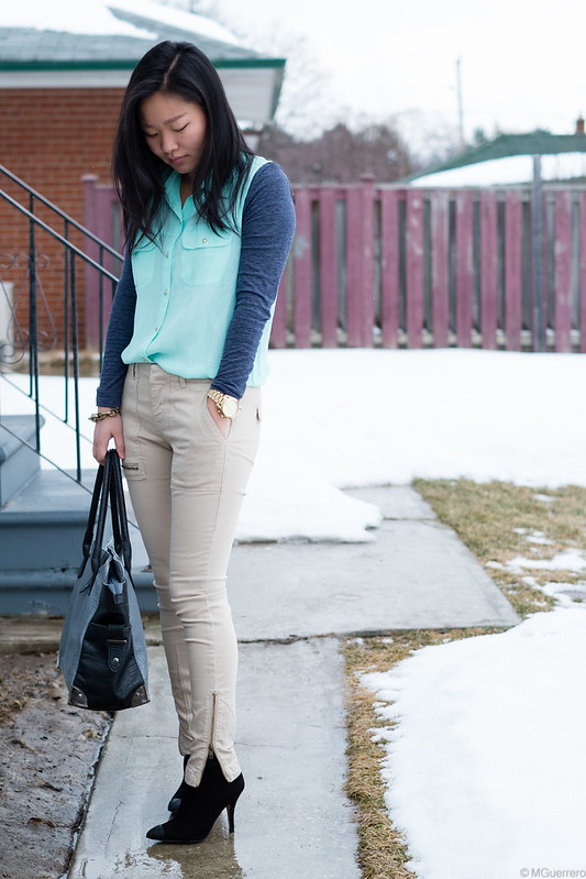 mint green shirt zipper detail zara pants