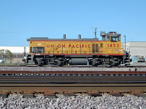 A Union Pacific Railroad EMD yard switcher locomotive at the Union Pacific M-19A Diesel Shop.  Chicago Illinois. October  2007. by Eddie from Chicago