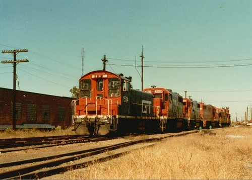 Southbound Grand Trunk Western Railroad light engine movement departing the Elsdon Yard site south of West 51st Street.  Chicago Illinois.  October 1983. by Eddie from Chicago