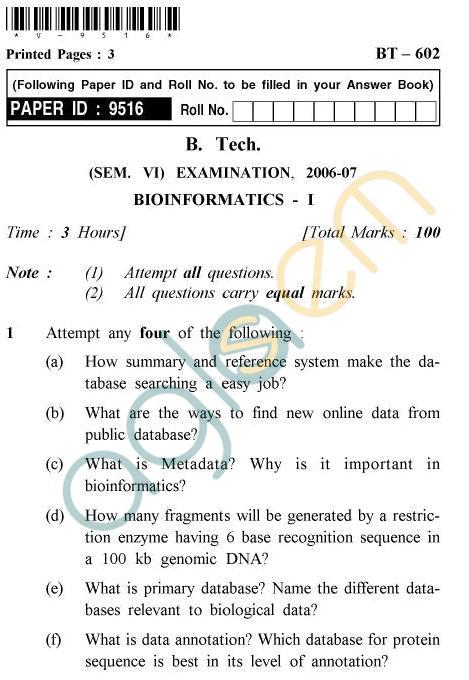 UPTU B.Tech Question Papers -BT-602 - Bioinformatics-I
