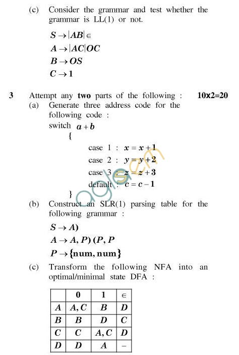 UPTU B.Tech Question Papers - CS-604-Compiler Construction