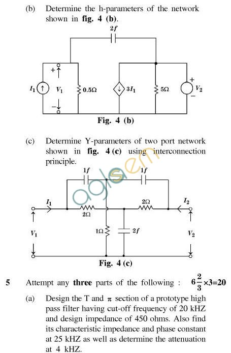 UPTU B.Tech Question Papers - TEE-402-Network Analysis & Synthesis