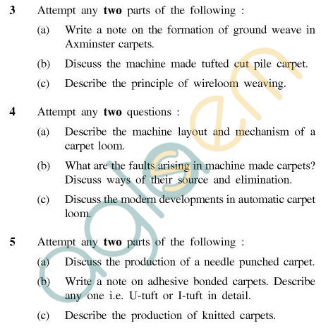 UPTU B.Tech Question Papers - CT-602 - Carpet Manufacturing-II