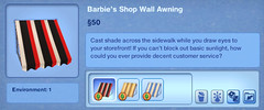 Barbie's Shop Wall Awning