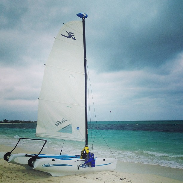 Sailboat on beach Turks and Caicos