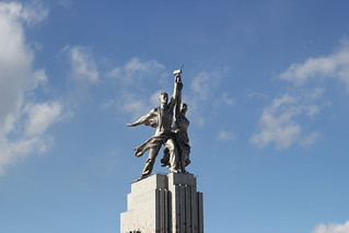 İşçi ve Çiftçi Kadın Heykeli Rostokino yakın görüntü. monument moscow