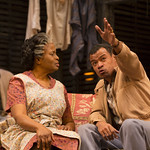 Corey Allen, Kimberly Scott ('Lena Younger'), and LeRoy McClain ('Walter Lee Younger') in the Huntington Theatre Company's production of Lorraine Hansberry's A RAISIN IN THE SUN. Mar. 8 - Apr. 7, 2013 at Avenue of the Arts / BU Theatre. huntingtontheatre.org. photo: T. Charles Erickson
