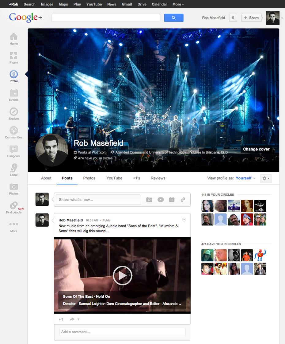 Google + profile page