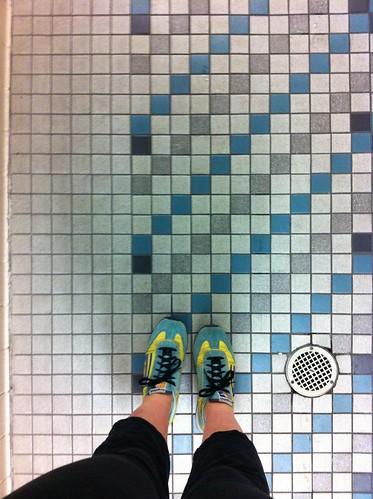 locker room floor.