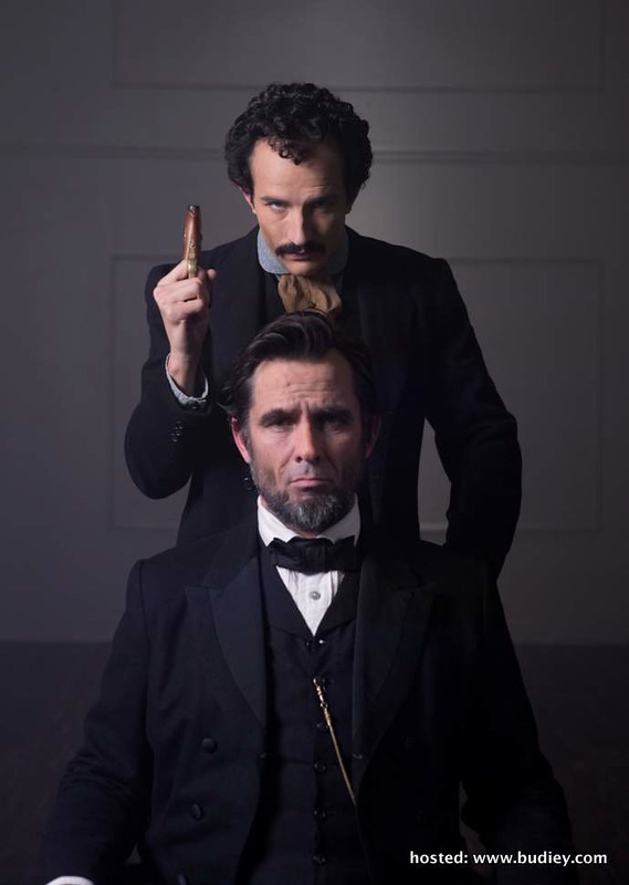 Billy Campbell and Jesse Johnson (standing) in character as Abraham Lincoln and John Wilkes Booth