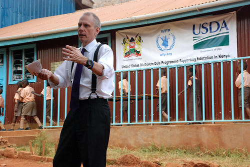 U.S. Ambassador to Kenya Robert Godec visits the Stara Rescue Center, a school and orphanage in Nairobi, to highlight USDA's support to the center's students through the McGovern-Dole Food for Education Program. The World Food Program, an international humanitarian agency and McGovern-Dole participant, began a feeding program at the center for school days. (Courtesy Photo)
