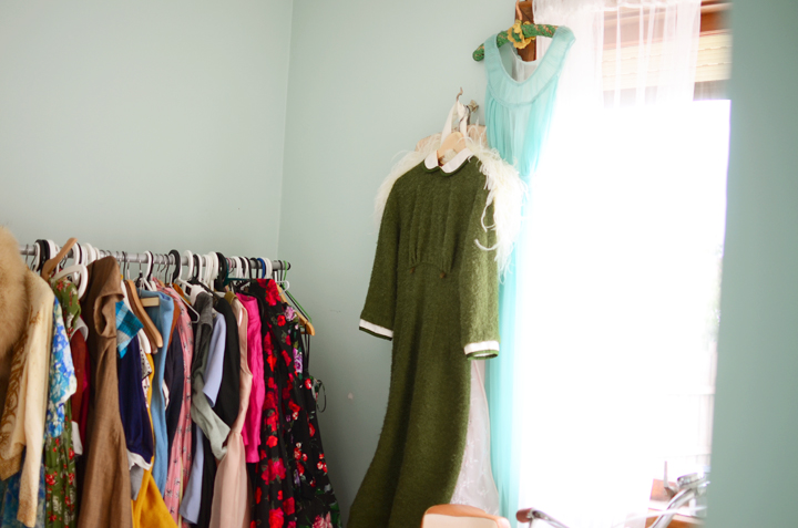 vintage green collar dress a