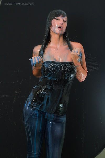 Girl get messy with big black dildo