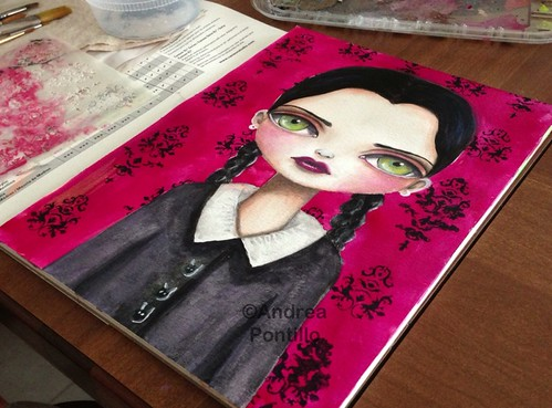 Finished painting of Wednesday Addams by Andrea Pontillo