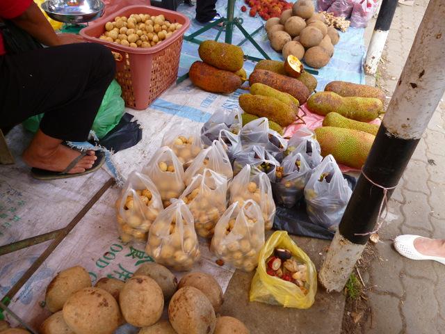 From nearest: Unknown fruit, langsat, mangosteen, jackfruit