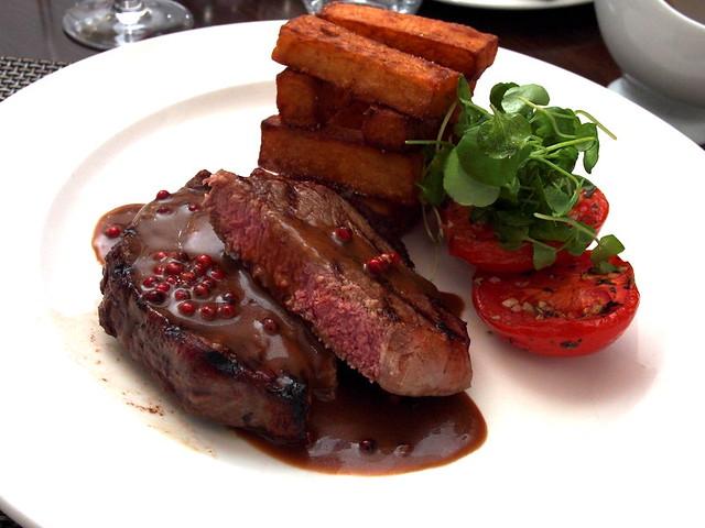 Rib eye steak with red peppercorns
