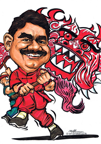 Dragon dance caricature for HSBC