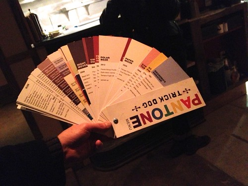 Trick Dog drink dog menu is like the Pantone color guide