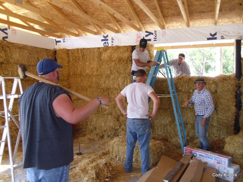 Students of the Cody-Kilgore schools and area residents are working to complete a straw-bale building, an environmentally-friendly design that uses straw as insulation. Start-up funding was provided through USDA Rural Development and matched with cash, material and sweat equity contributions. Photos courtesy of the Village of Cody.