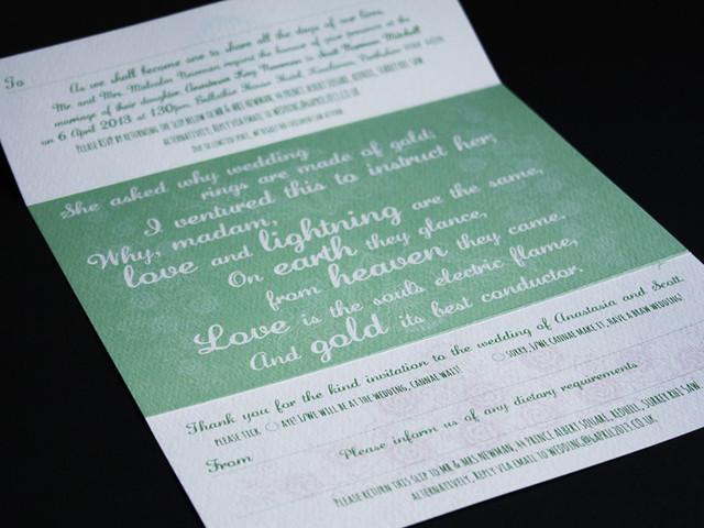 Wedding Invitation with Robert Burn's poem