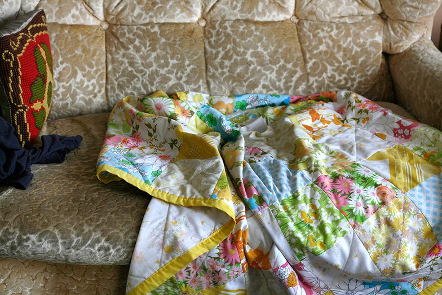 stills, bits + pieces, quilt, couch, vintage, handmade