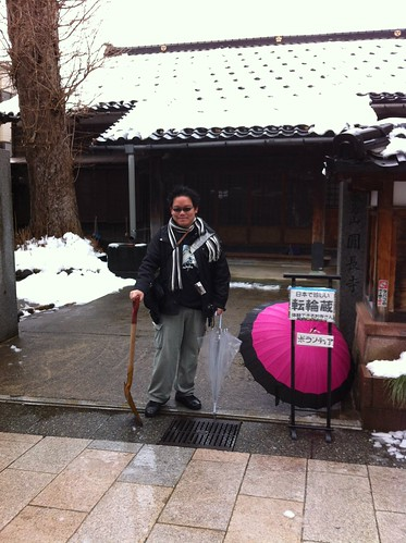 Shoveling the snow at Enchoji temple