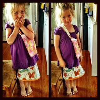 I sewed the skirt, she sewed the bag
