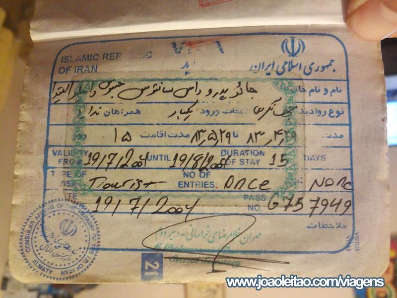 Visto para o Irão no passaporte