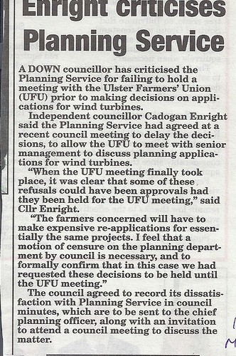 Planning office criticised 10th Oct 2011 by CadoganEnright