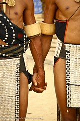 Naga Tribesmen Holding Hands During a Tribal Dance