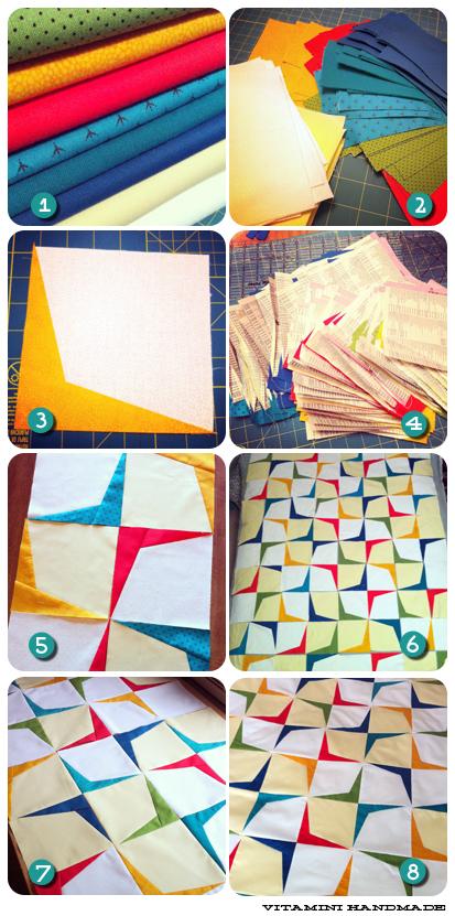 retro modern boomerang quilt process by vitaminihandmade