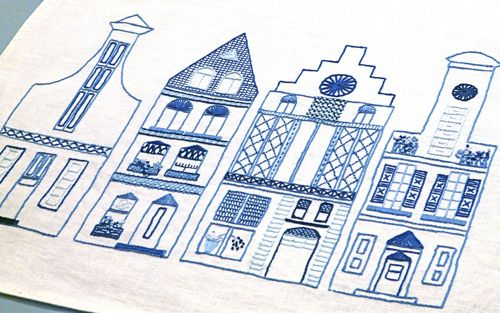 Dutch Canal House Embroidery completed
