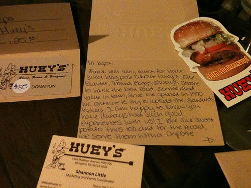 Huey's card inside