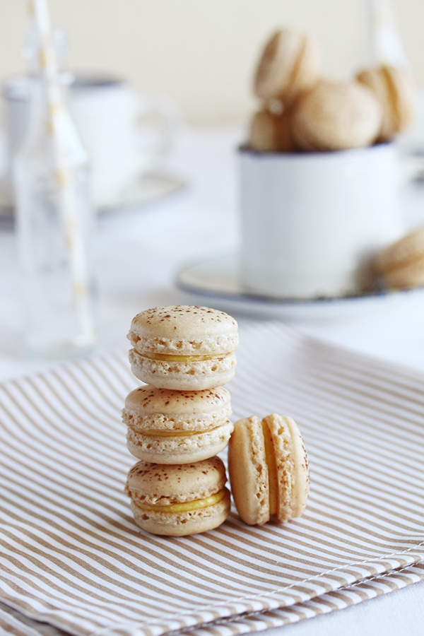 Mango and passion fruit macarons