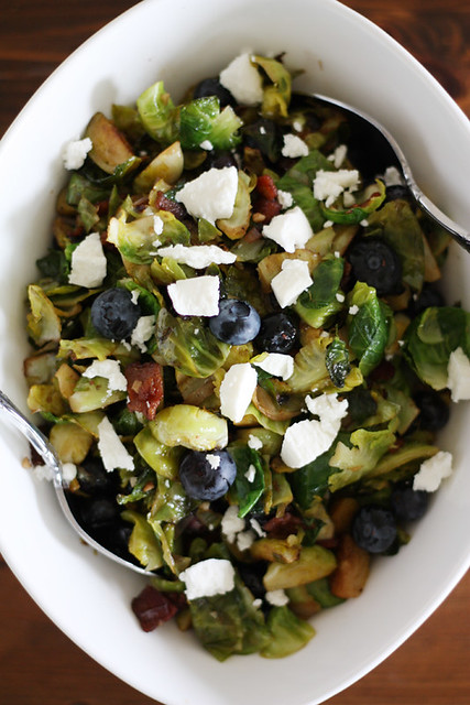balsamic brussels sprouts salad with bacon + blueberries // Girl Versus Dough