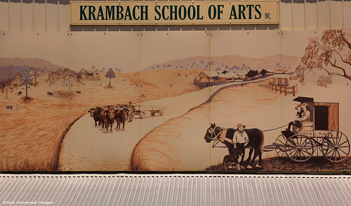Historical Mural on front wall of Krambach School of Arts, Krambach, Mid North Coast, NSW, Australia