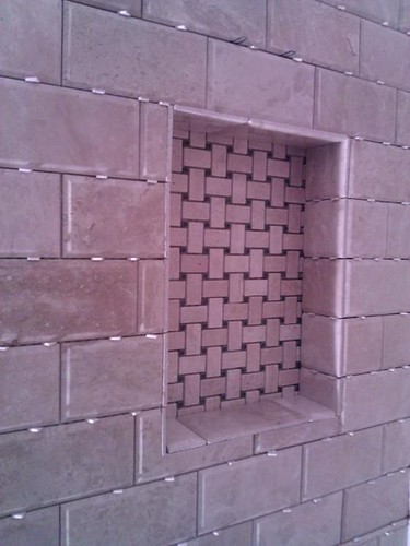 Travertine tile niche