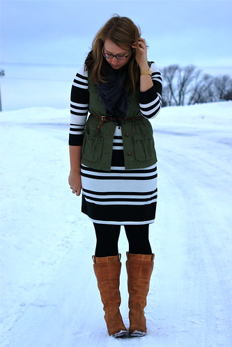 striped dress and vest