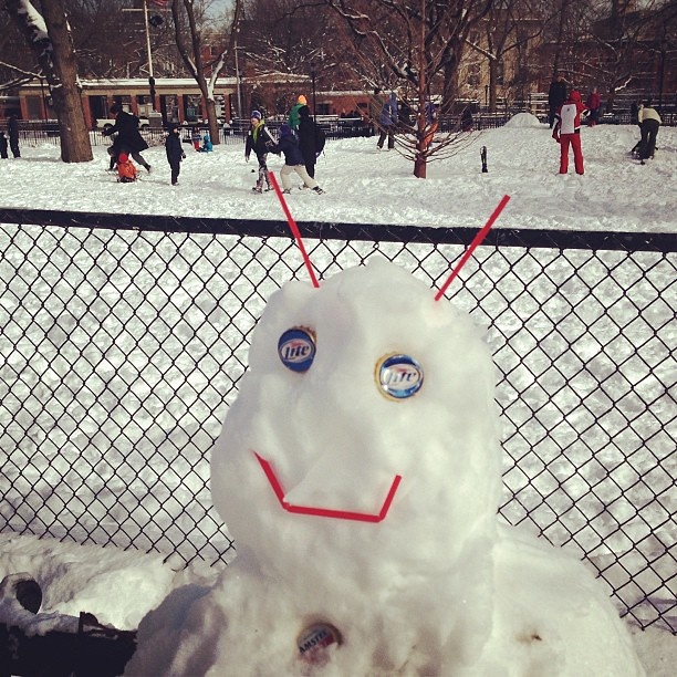 Frosty the East Village snowman