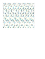 11d LIGHT antique blue painted wallpaper flowers SMALL SCALE - A2 card size LANDSCAPE or HORIZONTAL