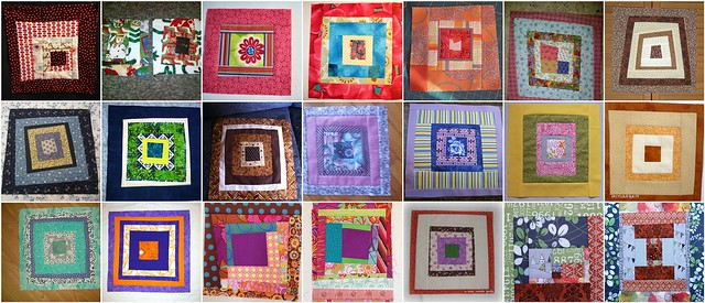 21 Free Form Log Cabin Blocks from the My Favorite Block Quilt Along