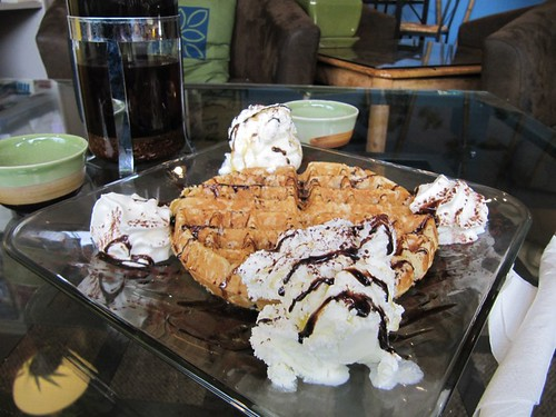 Tropical Waffle with ice cream