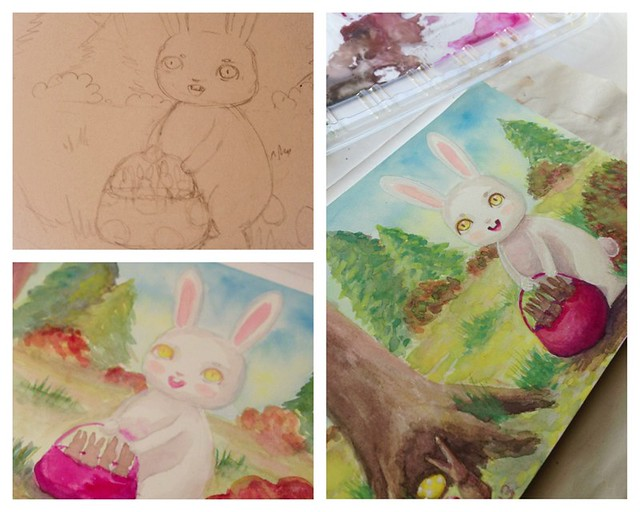 Easter bunny painting by Andrea Pontillo
