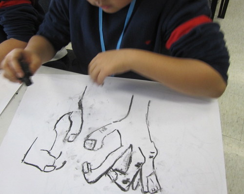 Drawing with wood charcoal, Yew Chung International School of Beijing 4