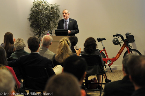Mayor Hales at bike share event