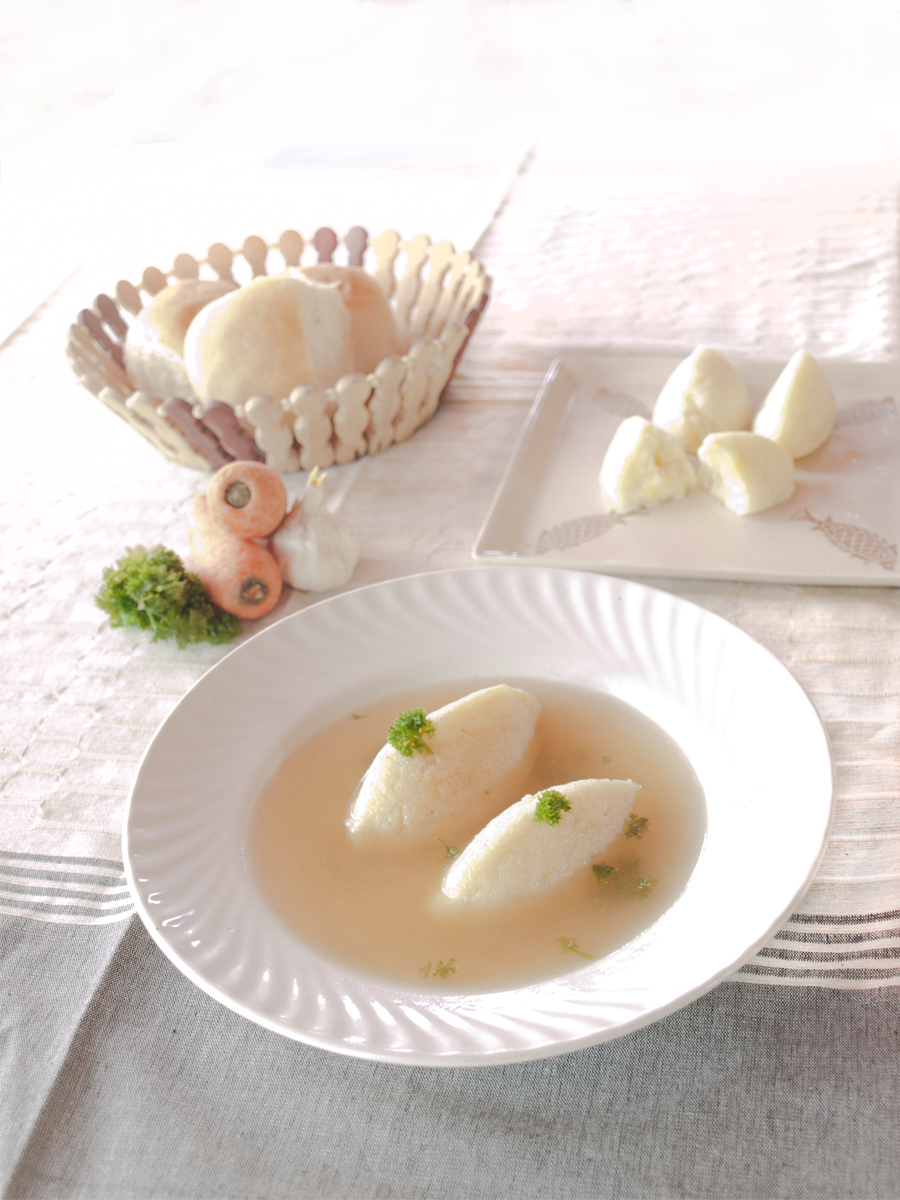 Vegetable Consommé with Semolina Dumplings - Grießknödel