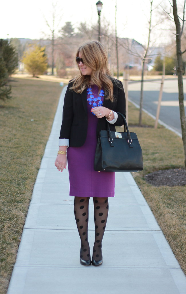 Windblown Purple and Dots office outfit