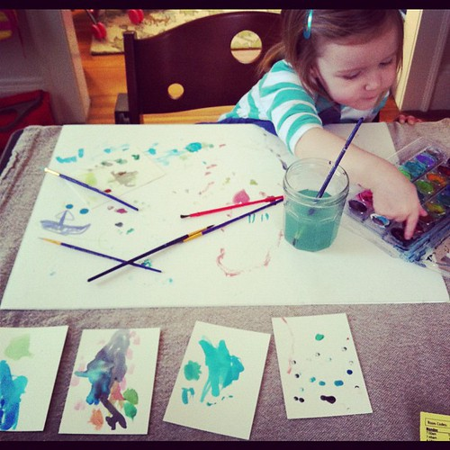 instead of napping, there was painting.  there was no stopping her. like her mama, she's partial to blues :)