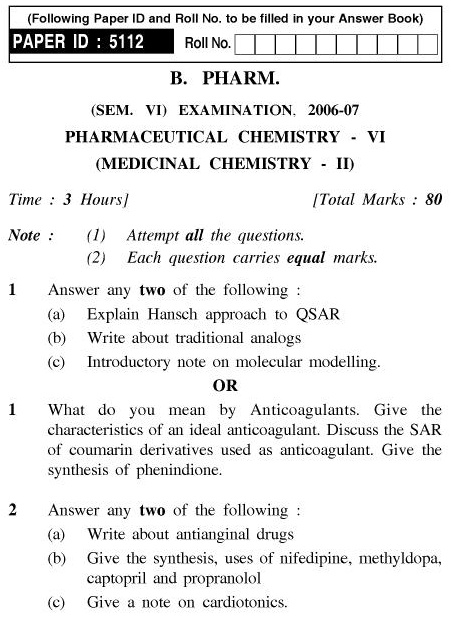 UPTU B.Pharm Question Papers PHAR-361 - Pharmaceutical Chemistry-VI